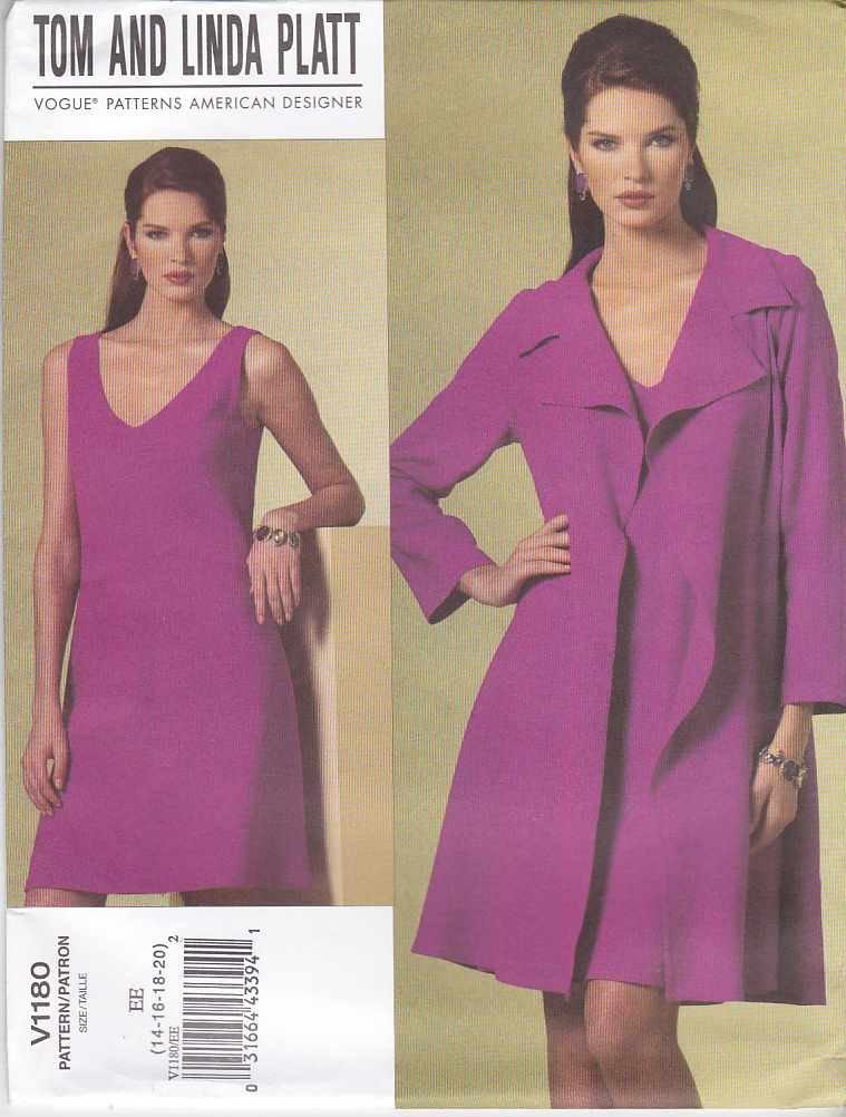 Vogue Sewing Pattern 1180 Misses Size 14-20 Tom Linda Platt Loose Fitting Jacket Sleeveless Dress