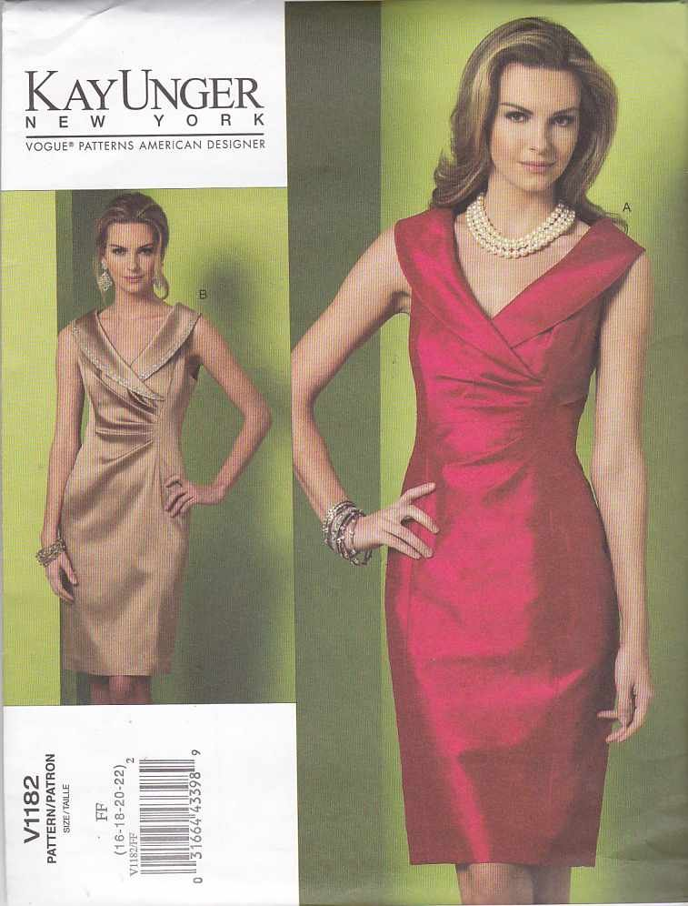 Vogue Sewing Pattern 1182 Misses Size 8-14 Kay Unger Fitted Sleeveless Straight Dress