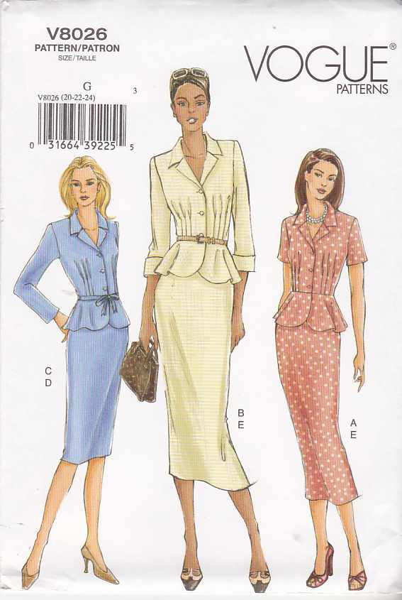 Vogue Sewing Pattern 8026 Misses Size 20-22-24 Easy Skirt Top Suit Peplum
