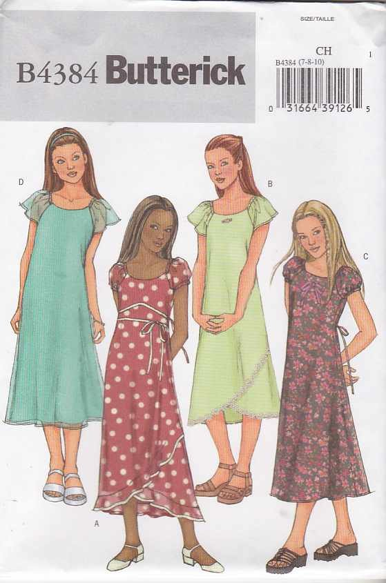 Butterick Sewing Pattern 4384 Girls Size 7-8-10 Easy  Pullover A-Line Layered Dresses