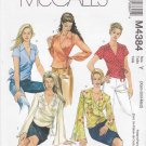 McCall's Sewing Pattern 4384 Misses Size 4-14 Front Wrap Tops Blouses Long Short Sleeves