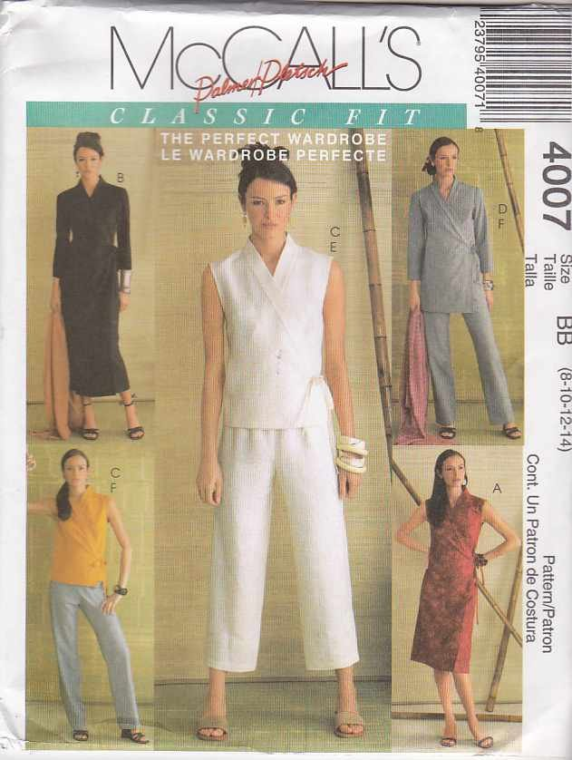 McCall's Sewing Pattern 4007 Misses Size 16-22 Classic Fit Wardrobe Front Wrap Dress Top Pants