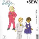 Kwik Sew Sewing Pattern 2912 Girls Boys Sizes T1-T4 Pullover Appliqued Knit Top Pants Jumper