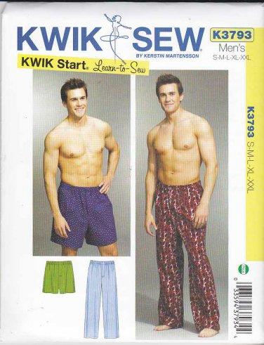 "Kwik Sew Sewing Pattern 3793 Men's Sizes S-XXL (Waist 28""- 46"") Sleep Pajama Pyjama Pants Shorts"
