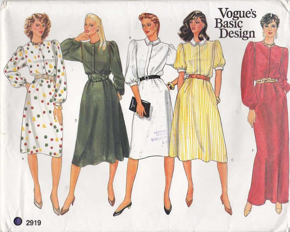Vogue Sewing Pattern 2919 Misses Size 10 Basic Classic Shirtwaist Long Short Dress