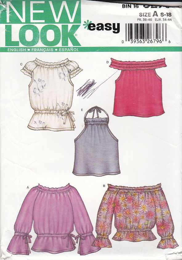 New Look Sewing Pattern 6275 Misses Size 8-18 Easy Pullover Peasant Halter Tops