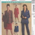 McCall's Sewing Pattern 4657 Misses Size 10-16 Palmer/Pletsch Classic Fit Jacket Pants Skirt Suit