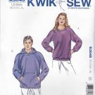 "Kwik Sew Sewing Pattern 3045 Men's Misses Sizes XS-XL (Chest 33""- 45"") Knit Sweatshirt Hoodie Jacket"