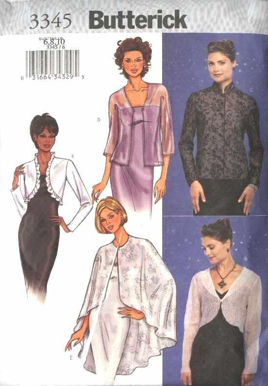 Butterick Sewing Pattern 3345 Misses Size 6-8-10 Easy Formal Evening Jacket Cape Shrug Bolero