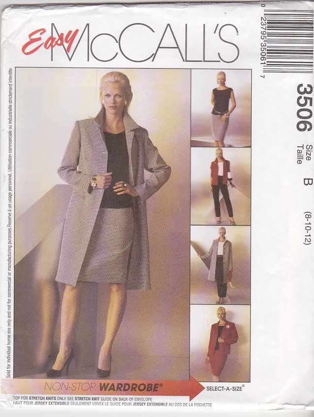 McCall's Sewing Pattern 3506 M3506 Misses Size 8-12 Easy Wardrobe Coat Jacket Top Pants Skirt
