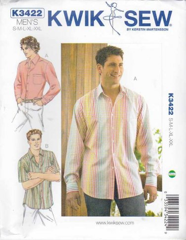 "Kwik Sew Sewing Pattern 3422 Men's Sizes S-XXL (Chest 34""- 52"") Button Front Short Long Sleeve Shirt"