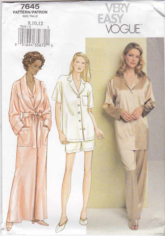Vogue Sewing Pattern 7645 Misses Size 8-10-12 Easy Bathrobe Top Pants Shorts Pajamas
