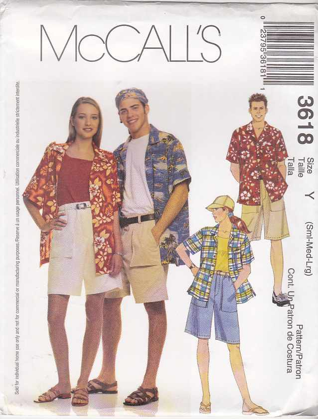 """McCalls Sewing Pattern 3618 Misses Mens Unisex Chest Size 34-44"""" Button Front Shirts Shorts Hats"""