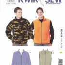 "Kwik Sew Sewing Pattern 3638 Men's Sizes S-XXL (Chest  34""- 52"") Zipper Front Jacket Vest"