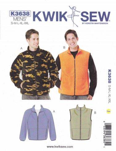 "Kwik Sew Sewing Pattern 3638 Men's Sizes S-XXL (Chest  34""- 52"") Zipper Front Jacket Vest"