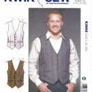 "Kwik Sew Sewing Pattern 3662 K3662 Men's Sizes S-XXL (Chest  34""- 52"") Button Front Lined Vest"