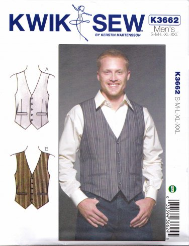 """Kwik Sew Sewing Pattern 3662 K3662 Men's Sizes S-XXL (Chest  34""""- 52"""") Button Front Lined Vest"""