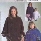 Butterick Sewing Pattern 4621 Girls Size 3-4-5-6 Easy Machine Embroidery  Ponchos