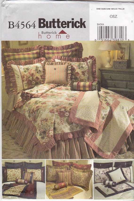 Butterick Sewing Pattern 4564 Bedroom Décor Comforter Throw Sham Neckroll Pillows Bedskirt