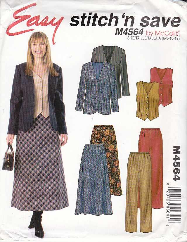 McCall�s Sewing Pattern 4564 Misses Size 10-16 Easy Wardrobe Lined Jacket Vest Pants Bias Skirt