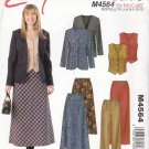 McCall's Sewing Pattern 4564 Misses Size 6-12 Easy Wardrobe Lined Jacket Vest Pants Bias Skirt