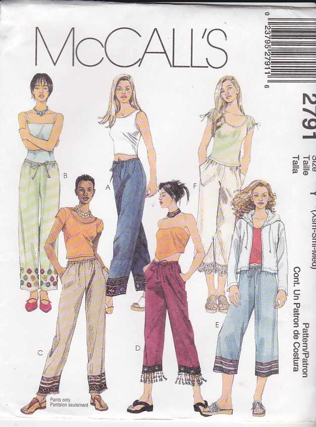 McCall's Sewing Pattern 2791 Misses Size 16-22 Pull On Drawstring Long Cropped Pants