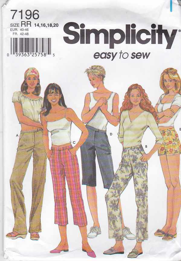 Simplicity Sewing Pattern 7196 Misses Size 14-20 Easy Fitted Long Cropped Pants Bermuda Shorts