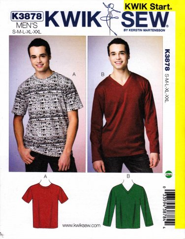 """Kwik Sew Sewing Pattern 3878 Men's Size S-XXL (Chest 34"""" - 52"""") Pullover Short Long Sleeve T-Shirt"""