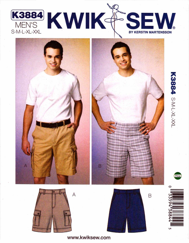 "Kwik Sew Sewing Pattern 3884 Men's Size S-XXL (Waist 28 - 46"") Shorts Optional Cargo Pockets"