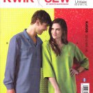 "Kwik Sew Sewing Pattern 4005 Mens Misses Sizes XS-XL (Chest 31 1/2 - 45"") Pullover Shirts Tops"