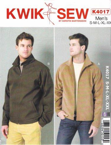 """Kwik Sew Sewing Pattern 4017 K4017 Men's Size S-XXL (28 - 46"""") Zipper Front Raglan Sleeve Jacket"""