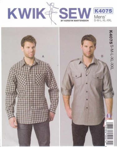 """Kwik Sew Sewing Pattern 4075 K4075 Men's Size S-XXL (Chest 34-52"""") Button Front Shirts Long Sleeves"""