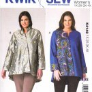 Kwik Sew Sewing Pattern 4142 K4142 Women's Plus Sizes 1X-4X Assymetrical Front Jacket