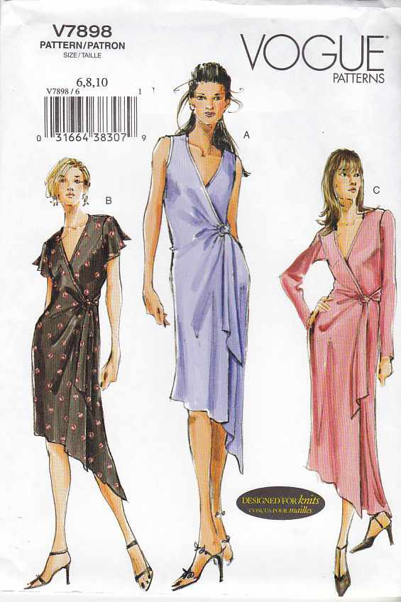 Vogue Sewing Pattern 7898 Misses Sizes 12-14-16 Easy Front Wrap Knit Dress