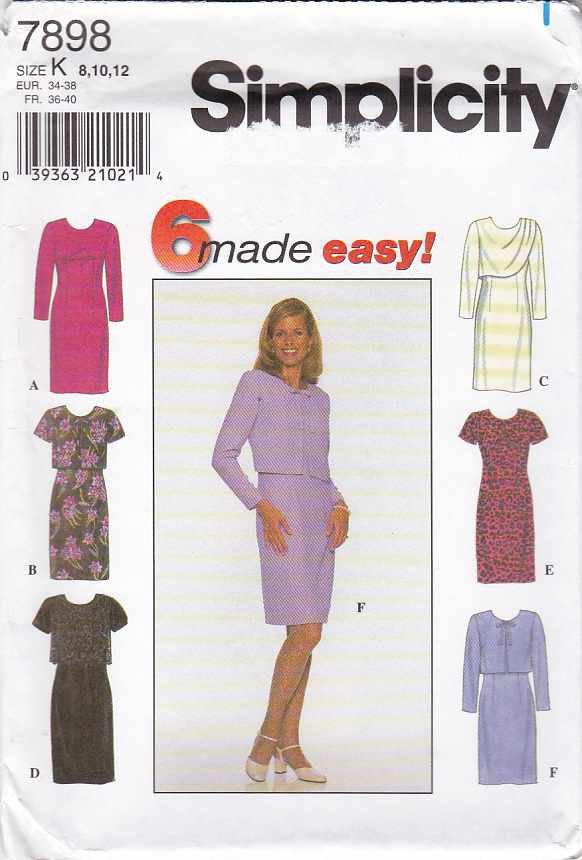 Simplicity Sewing Pattern 7898 Misses Size 8-12 Easy Short Long Sleeve Dress Jacket Drape