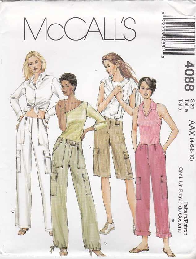 McCall's Sewing Pattern 4088 Misses Size 4-10 Low Rise Long Rolled Pants Bermuda Shorts