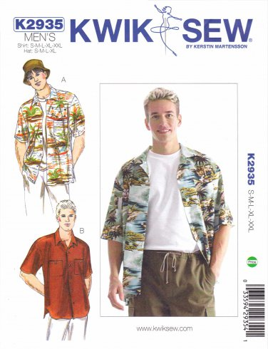 "Kwik Sew Sewing Pattern 2935 Men's Sizes S-XXL (chest 34""- 52"") Classic Button Front Camp Shirt Hat"