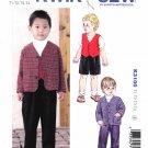 Kwik Sew Sewing Pattern 3100 Boys Toddlers Sizes 1-4 Suit Pants Shorts Jacket Vest