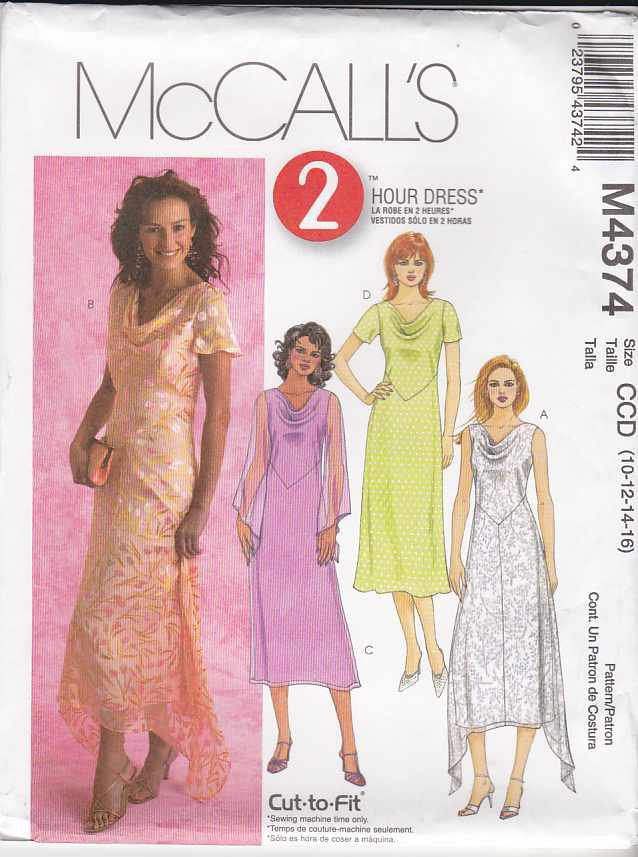 McCall�s Sewing Pattern 4374 Misses Size 10-16 2-Hour A-Line Cowl Neck Layered Dress