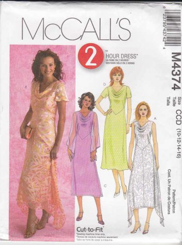 McCall�s Sewing Pattern M4374 4374 Misses Size 10-16 2-Hour A-Line Cowl Neck Layered Dress
