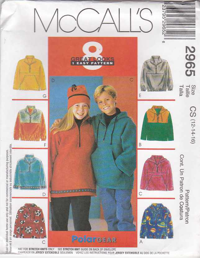 McCall's Sewing Pattern 2965 Boys Girls Size 12-14-16 Easy Pullover Hooded Knit Top Hat