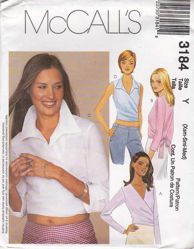 McCall's Sewing Pattern 3184 Misses Size 12-18 Front Wrap Sleeveless Long Sleeve Blouse Top