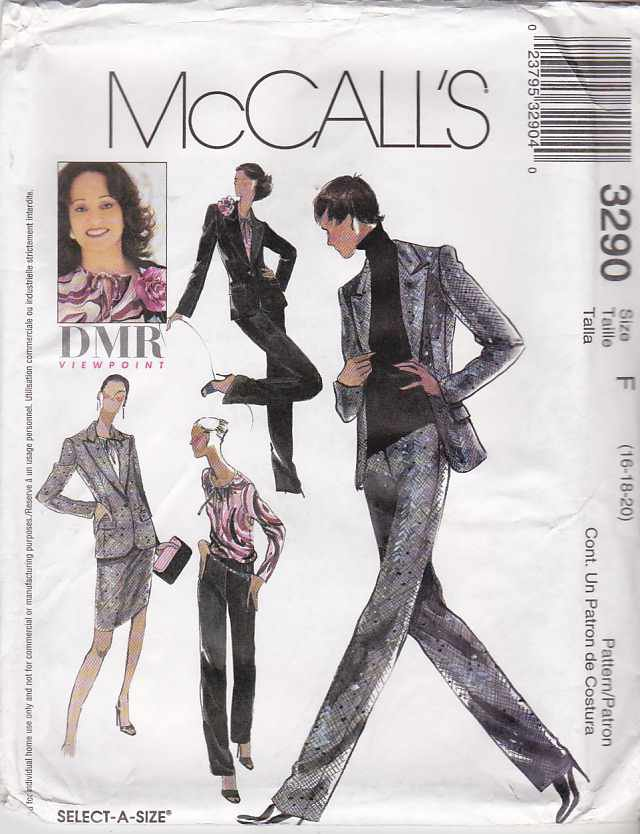 McCall's Sewing Pattern 3290 M3290 Misses Size 16-20 Pullover Blouse Lined Jacket Pants Skirt