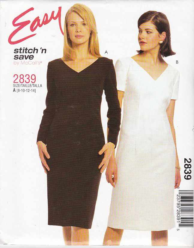 McCall's Sewing Pattern 2839 M2839 Misses Size 8-14 Easy Straight Short Long Sleeve Dress