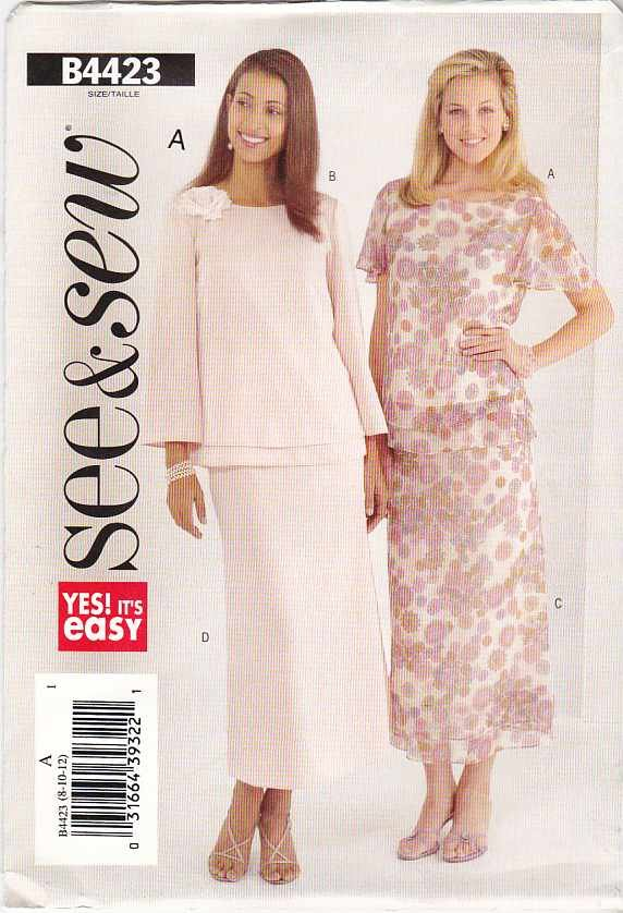 Butterick Sewing Pattern 4423 B4423 Misses Size 8-10-12 Easy Pullover Layered Top A-Line Skirt