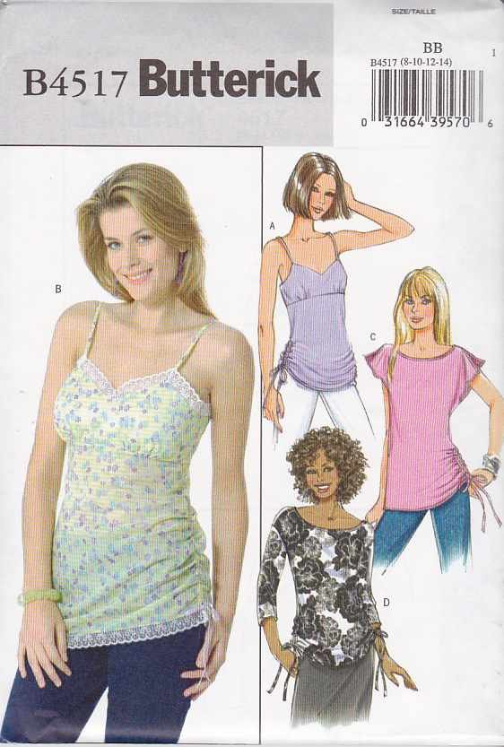 Butterick Sewing Pattern 4517 B4517 Misses Size 16-22 Easy Pullover Empire Waist Ruched Tops