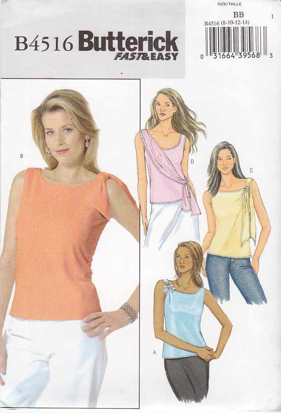Butterick Sewing Pattern 4516 Misses Size 8-10-12-14 Easy Knit Sleeveless Pullover Tops