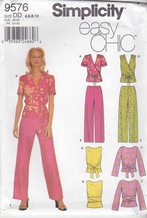 Simplicity Sewing Pattern 9576 Misses Size 4-10  Easy Front Wrap Top Fitted Long Pants