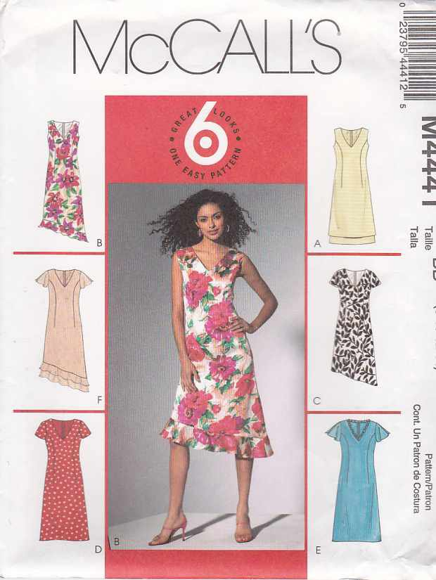 McCall's Sewing Pattern 4441 Misses Size 8-14 Easy A-Line Lined Dress Sleeve Hem Variations