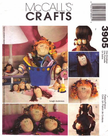 McCall's Sewing Pattern 3905 Leagh Anderson Craft Accessories Girls Tote Barrette Pin